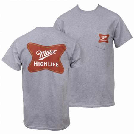 Miller High Life Logo Front and Back Print Pocket T-Shirt
