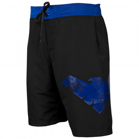 Nightwing Symbol Heather Black Board Shorts