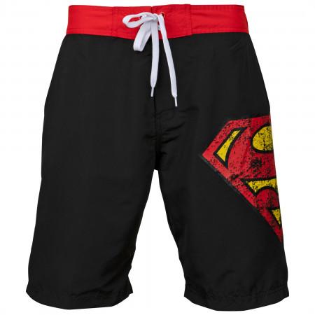 Superman Symbol Black Swim Board Shorts