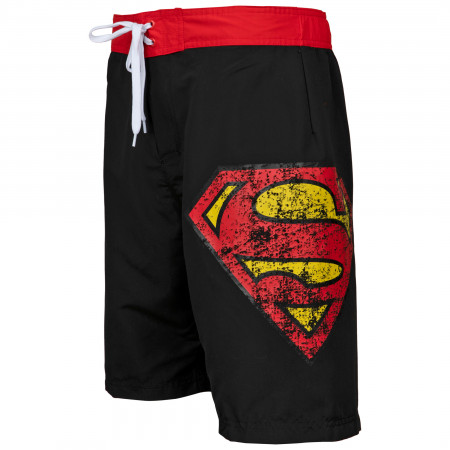 Superman Symbol Black Swim Board Shorts