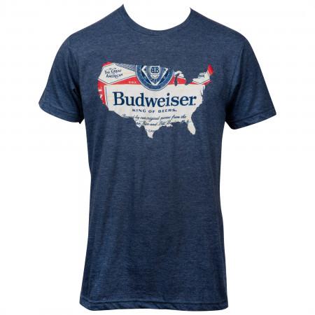 Budweiser USA Map T-Shirt