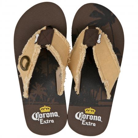 Corona Extra Logo Palm Tree Flip Flop Sandals