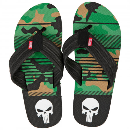 The Punisher Marvel Camo Flip Flop Sandals