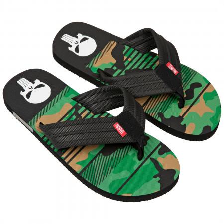 The Punisher Marvel Camo Flip Flop Sandals