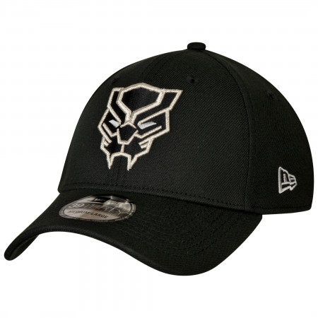 Black Panther Face Symbol Color Block New Era 39Thirty Fitted Hat