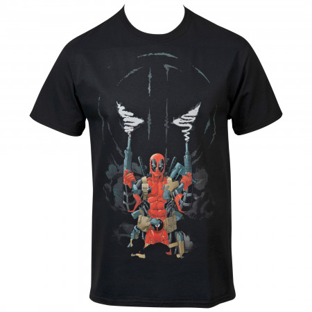 Marvel Deadpool Two Guns and Smoke Symbol T-Shirt