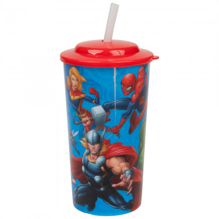 Marvel Avengers Heroes Characters 16oz Sports Tumbler w/ Straw