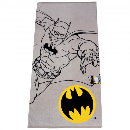Batman Character Sketch and Symbol Bath Towel