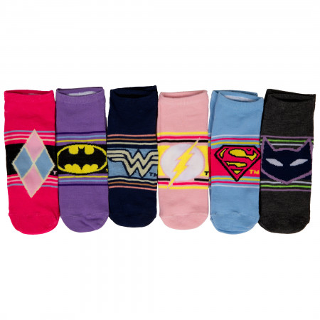 DC Comics Heroine Logos and Symbols Women's 6-Pack of Shorties Socks
