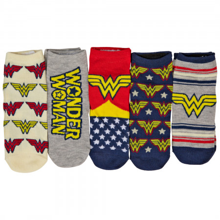 Wonder Woman Logos and Symbols Women's 5-Pack of Shorties Socks