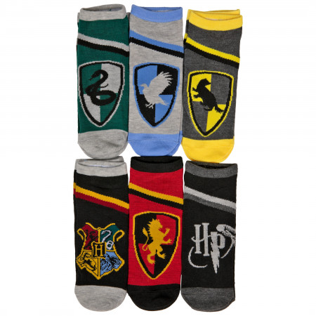 Harry Potter House Crests and Symbol 6-Pack of Women's Shorties Socks