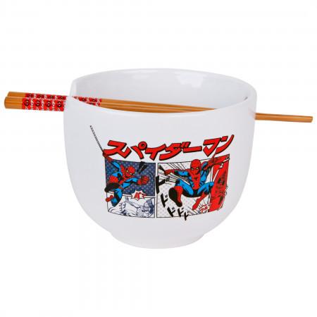 Spider-Man Manga Panels Ramen Bowl with Chopsticks