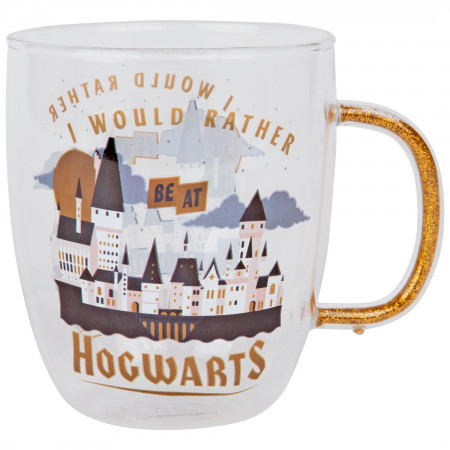 Harry Potter I Would Rather Be At Hogwarts 14oz Glitter Handle Glass Mug