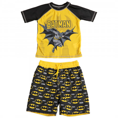 Batman Symbol and Character Youth Swim Trunks and Rashguard Set