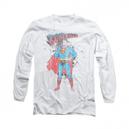 Superman Vintage Ink Splatter White Long Sleeve T-Shirt