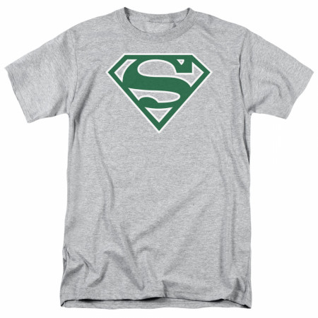Superman Green Logo Grey T-Shirt