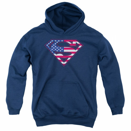 Superman Patriotic American Flag Logo Youth Hoodie