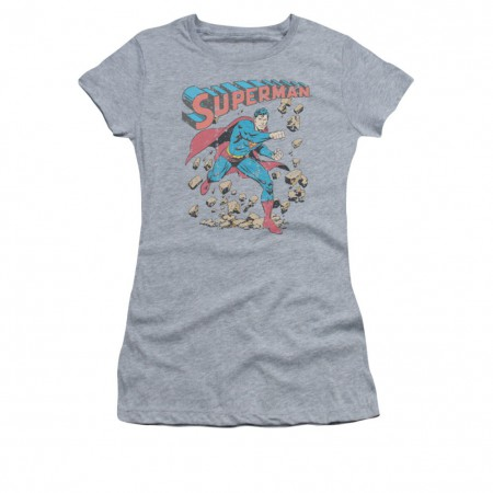 Superman Rock Smash Gray Juniors T-Shirt