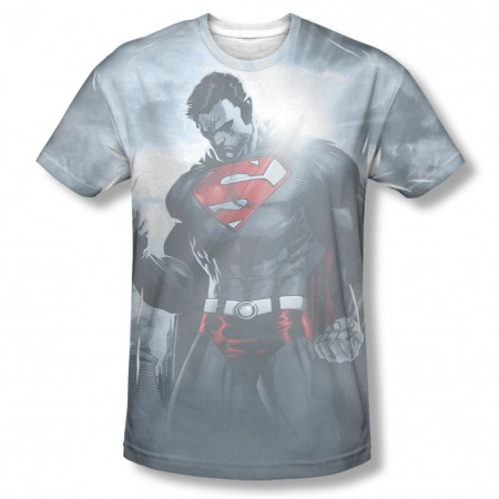 Superman Light Of The Sun Sublimation Gray T-Shirt