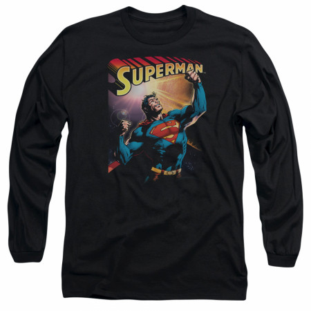 Superman Victory Black Long Sleeve T-Shirt