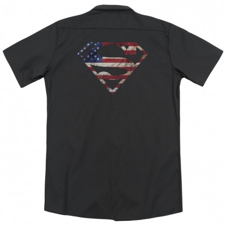 Superman American Flag Logo Work Shirt