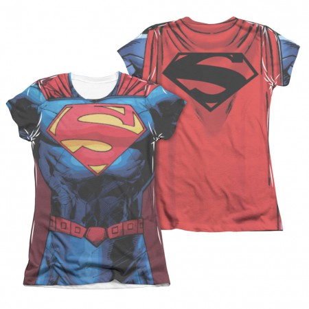 Superman New 52 Costume Sublimation Juniors T-Shirt