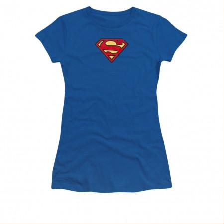 Superman Embroidered Classic Logo Juniors T-Shirt