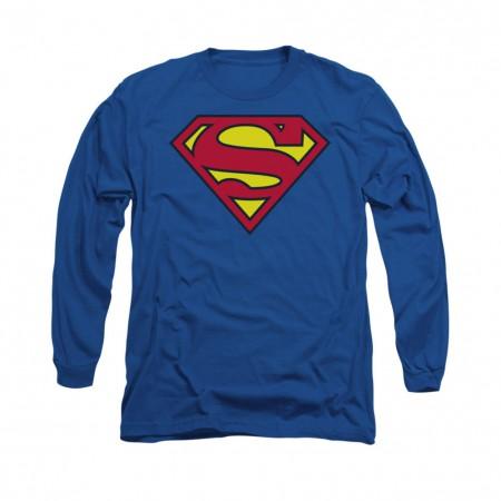 Superman Classic Logo Blue Long Sleeve T-Shirt