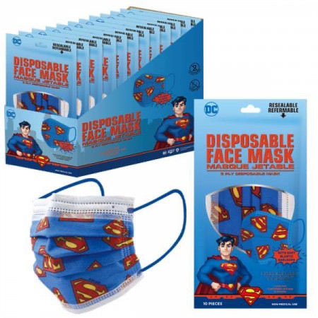 Superman Symbol All Over 10 Pack of Disposable Youth Face Masks