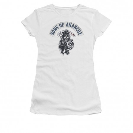 Sons Of Anarchy Bloody Sickle White Juniors T-Shirt