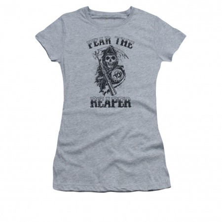 Sons Of Anarchy Fear The Reaper Gray Juniors T-Shirt