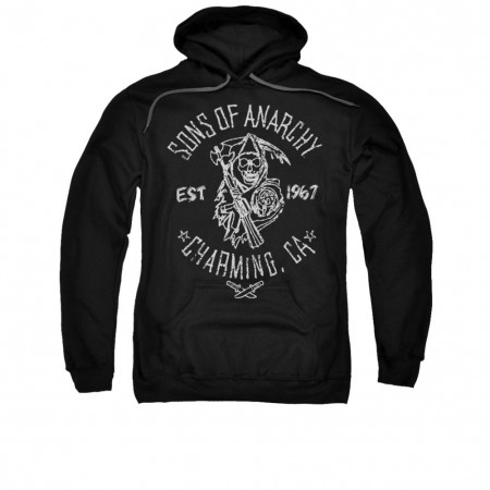 Sons Of Anarchy Fabric Print Black Pullover Hoodie