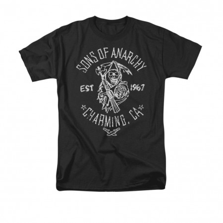 Sons Of Anarchy Fabric Print Black T-Shirt