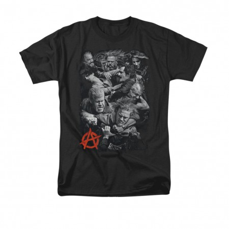 Sons Of Anarchy Men's Black Group Fight T-Shirt