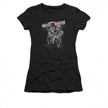 Sons Of Anarchy Reaper Logo Black Juniors T-Shirt