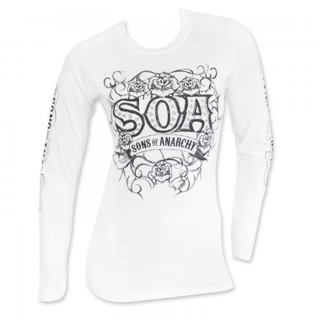 Sons Of Anarchy Women's White Long Sleeve Tribal T-Shirt