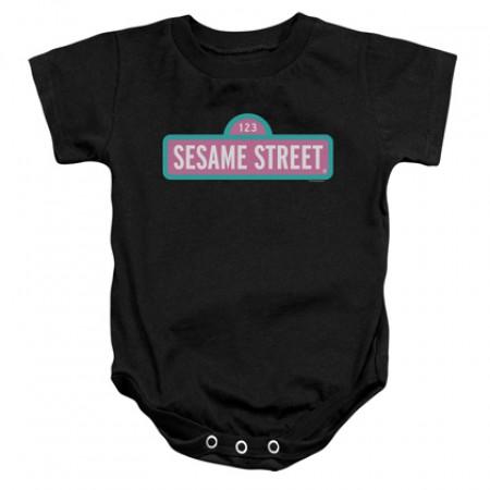 Sesame Street Pink Logo Black Onesie