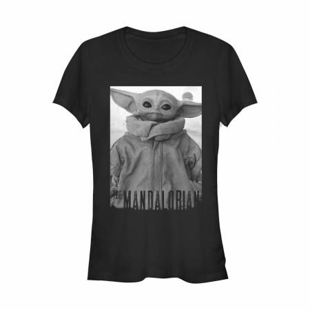 Star Wars The Mandalorian The Child Grayscale Pose Junior's T-Shirt