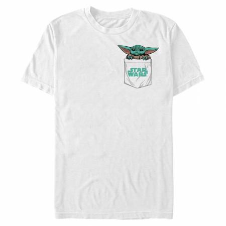 The Mandalorian Grogu Peeking Pocket T-Shirt