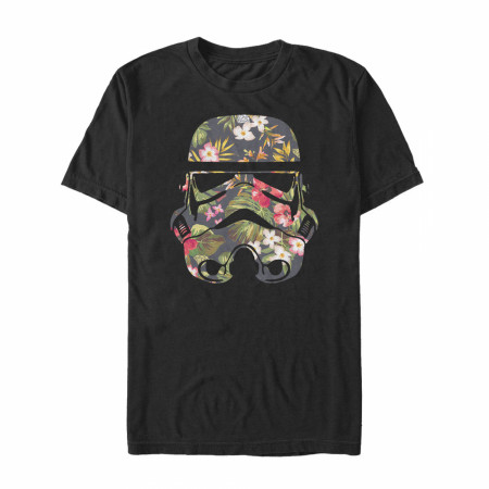 Star Wars Storm Trooper Floral Helmet Black T-Shirt