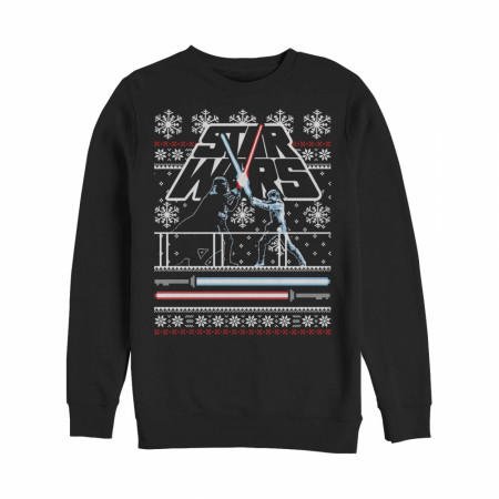 Star Wars Ugly Christmas Sweater Lightsabre Duel Black Sweatshirt