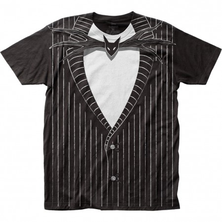 Nightmare Before Christmas Jack Skellington Black Men's Costume T-Shirt