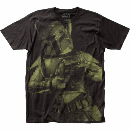 Star Wars Boba Fett Blaster Large Subway Print T-shirt