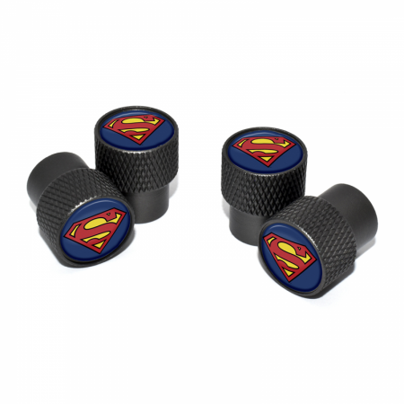 Superman Symbol Valve Stem Caps with Black Knurling 4-Pack