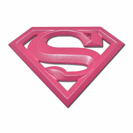 Supergirl Symbol Hot Pink Chrome Plated Emblem