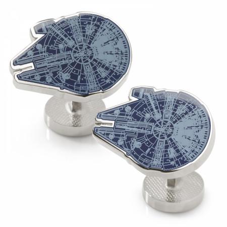 Star Wars Original Trilogy Millennium Falcon Blueprint Blue Cufflinks