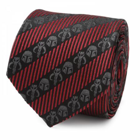 Star Wars The Mandalorian Black Red Stripe Men's Tie
