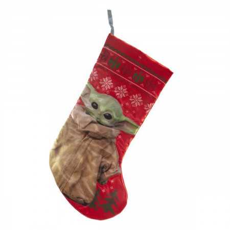 """Star Wars The Mandalorian The Child 19"""" Red Stocking"""