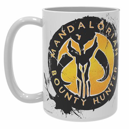 Star Wars The Mandalorian Character and Mythosaur Symbol Mug