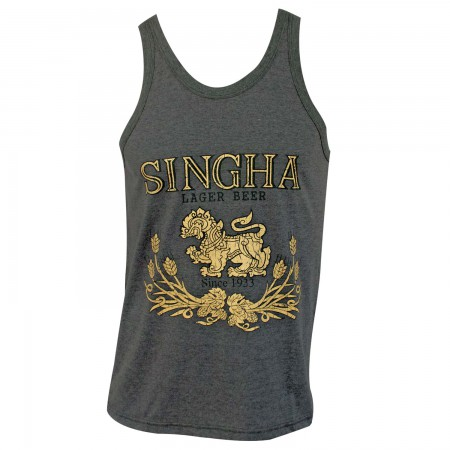Singha Beer Men's Gray Lion Logo Tank Top